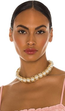 Braided Pearl Collar Necklace in Metallic Gold.