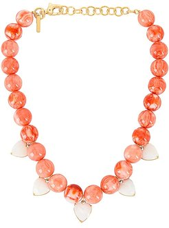 Heart Charm Country Club Necklace in Coral.