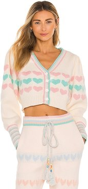 Buena Cropped Cardigan in Cream. - size L (also in M, XS)