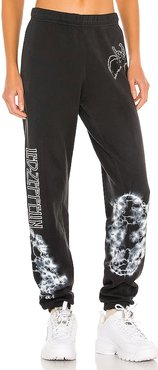 Tanzy Led Zeppelin Sweatpant in Black. - size L (also in M, S, XS)