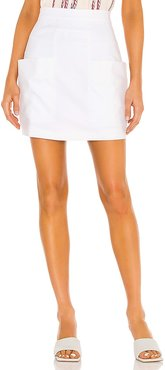 Compact Pockets Mini Skirt in White. - size S (also in XS)