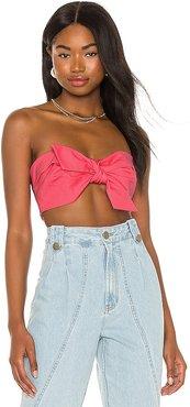 Compact Cotton Knot Crop Top in Pink. - size L (also in M, S, XS)