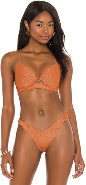 Underwire Luli Diva Bikini Top in Metallic Bronze. - size L (also in M, S, XL, XS)