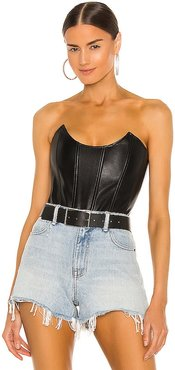Leia Faux Leather Corset in Black. - size S (also in XS)