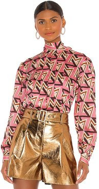 Geometric Blouse in Pink. - size 40/S (also in 42/M)