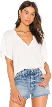 Odette Rolled Peasant Shirt in White. - size M (also in XS)