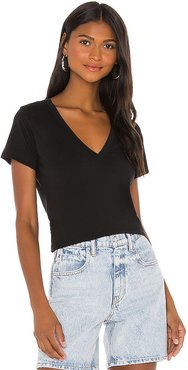 Blair Ultra Deep V Tee in Black. - size L (also in M, S, XS)