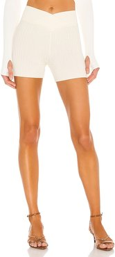 Downtown Ribbed Short in White. - size L (also in M, S, XL, XS, XXS)