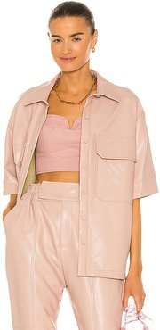 Cora Vegan Leather Top in Pink. - size 0 (also in 2, 4, 6, 8)