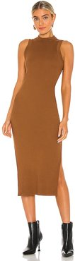 Sherry Mockneck Tank Dress in Brown. - size L (also in M, S, XS)