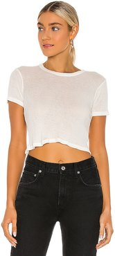 Stefia Cropped Tee in White. - size L (also in M, S, XS)