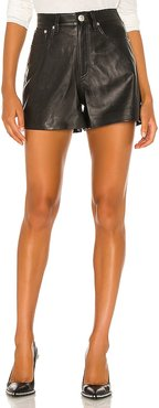 Super High Rise Leather Short in Black. - size 30 (also in 31)