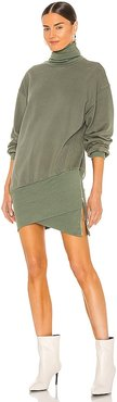 X REVOLVE Desreen Sweater Dress in Army. - size L (also in M, S, XS)