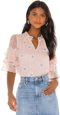 Short Sleeve Trellis Top in Pink. - size 0 (also in 2, 4, 6, 8)
