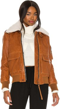 Fur Amelia Leather Bomber Jacket in Brown. - size L (also in S)