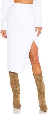 Cece Knit Skirt in White. - size L (also in M, S, XS)