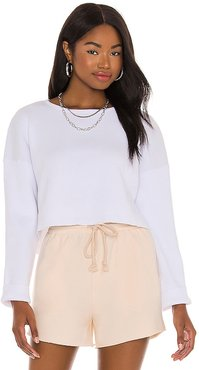 Cece Knit Top in White. - size L (also in M, S, XS)