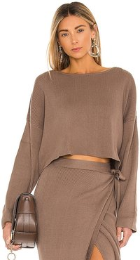 Cece Knit Top in Brown. - size L (also in M, S, XS)