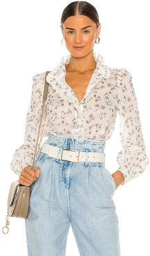Floral Blouse in White. - size 34/2 (also in 38/6, 40/8)
