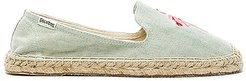 Flamingo Embroidered Espadrille in Blue. - size 5 (also in 5.5, 6, 6.5, 7, 7.5, 8, 8.5, 9.5)