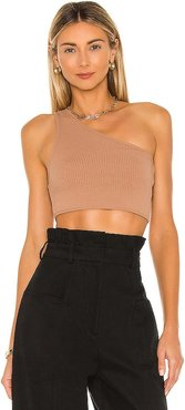 Ellie One Shoulder Top in Tan. - size L (also in M, S, XL, XS, XXS)