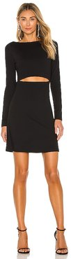Fitted Sleeve Slit Front Dress in Black. - size L (also in M, S, XS)