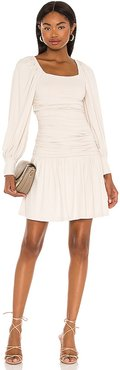 Square Neck Poet Sleeve Gathered Dress in Cream. - size L (also in M, S, XS)