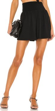 Gathered Smocked Short in Black. - size L (also in M, S, XS)