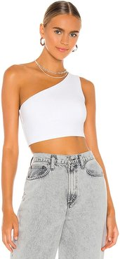 One Shoulder Crop Top in White. - size L (also in M, S, XS)