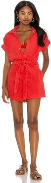 Belted Romper in Red. - size L (also in M, S, XS)