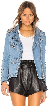 Studded Western Moto Jacket in Blue. - size S (also in XS)