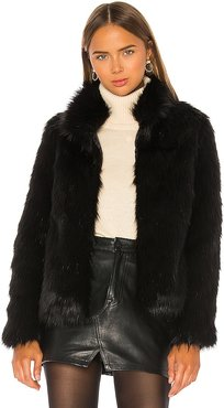 Unreal Faux Fur Delish Jacket in Black. - size L (also in XS)