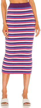 Varigated Rib Skirt in Purple,White. - size L (also in M, S, XS)