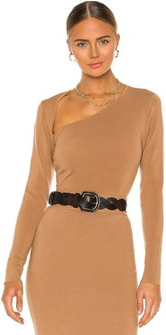Cut Shoulder Top in Tan. - size S (also in XS)