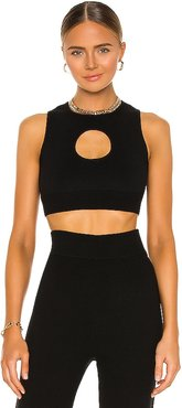 Colorblock Cut Out Halter Top in Black. - size L (also in M, S, XS)