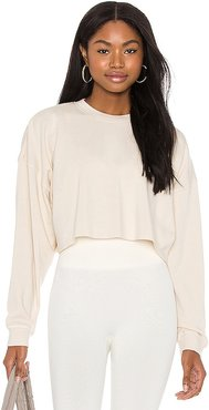 Cropped Sweatshirt in White. - size L (also in XS)