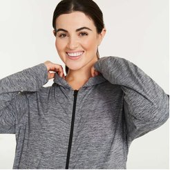 Women+ Relaxed-Fit Hoodie, Grey (Size 2X)