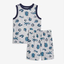 Kid Boys' Print Tank and Short Sleep Set, Light Grey Mix (Size M)