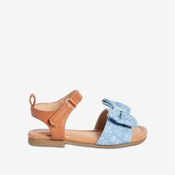Toddler Girls' Bow-Front Sandals, Blue (Size 6)