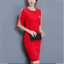Sheath Dress Short Mini Dress Black Red Red Solid Colored Beaded Spring Round Neck Going out Slim S M L XL XXL 3XL 4XL 5XL / Cotton / Plus Size / Plus