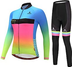 Miloto Women's Long Sleeve Cycling Jersey with Tights Cycling Jacket with Pants Winter Fleece Polyester BlueYellow Luminous Rainbow Gradient Plus Size Bike Fle