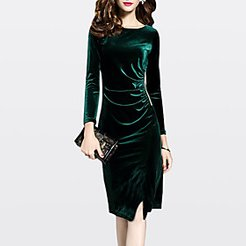 Sheath Dress Knee Length Dress Green Black Long Sleeve Solid Colored Fall Winter Round Neck Going out Velvet M L XL XXL 3XL / Plus Size / Plus Size