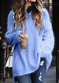 Basic Solid Colored Pullover Long Sleeve Plus Size Sweater Cardigans V Neck White Blue Blushing Pink