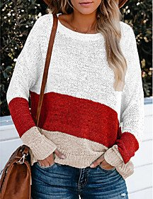 Color Block Pullover Cotton Long Sleeve Sweater Cardigans Round Neck White Yellow Blushing Pink