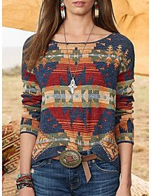 Geometric Pullover Long Sleeve Plus Size Sweater Cardigans Crew Neck Fall Winter Blue Red Blushing Pink