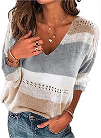 Stylish Hollow Out Knitted Striped Pullover Acrylic Fibers Long Sleeve Sweater Cardigans V Neck Fall Winter Gray