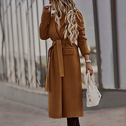 Coat Daily Fall Winter Long Coat Notch lapel collar Regular Fit Elegant Luxurious Jacket Long Sleeve Solid Colored with Belt Army Green Khaki