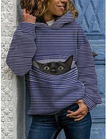 Plus Size Tops Pullover Hoodie Sweatshirt Cat Stripes Graphic Long Sleeve Daily Fall Winter Blue Big Size L XL 2XL 3XL 4XL