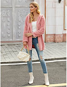Coat Daily Fall Winter Long Coat Loose Sophisticated Jacket Long Sleeve Solid Colored Blushing Pink / Going out