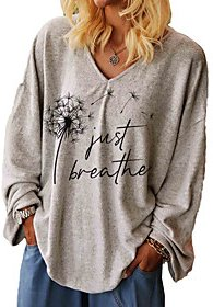 Plus Size Tops T shirt Graphic Letter Long Sleeve V Neck Fall Summer Gray Big Size L XL 2XL 3XL / Loose